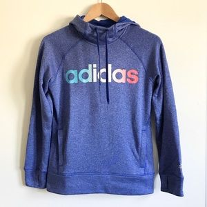 Blue Adidas Climawarm Pullover Hoodie - Small